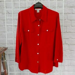 Cherry Red Button Down 3/4 Sleeve Top
